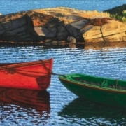 <b>Late Afternoon Blue Rocks</b><br>2007<br>oil on canvas<br>18 x 36 inches