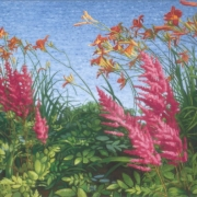 <b>Flowers at Water\'s Edge</b><br>2004<br>oil on canvas<br>20 x 32 inches