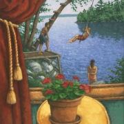 <b>Still Life With Bathers</b><br>2007<br>oil on canvas<br>24 x 20 inches
