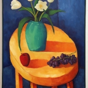 <b>Still Life With Yellow Table</b><br>1996<br>oil on canvas<br>36 x 24 inches