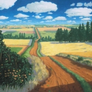 <b>Road Through Fields</b><br>2002<br>oil on canvas<br>30 x 40 inches