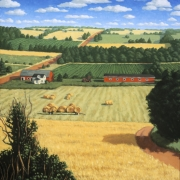 <b>Fields With Farm</b><br>2003<br>oil on canvas<br>40 x 30 inches