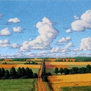 <b>Fields in Summer</b><br>2008<br>oil on canvas<br>18 x 40 inches