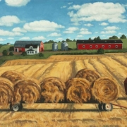 <b>Farm, Prince Edward Island</b><br>2005<br>oil on canvas<br>18.5 x 30 inches